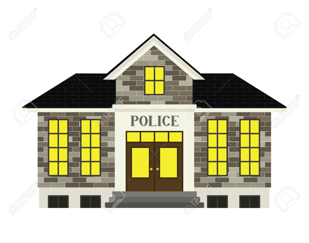 Police station clipart  A Simple Stylized Police Station Illustration Royalty Free ...