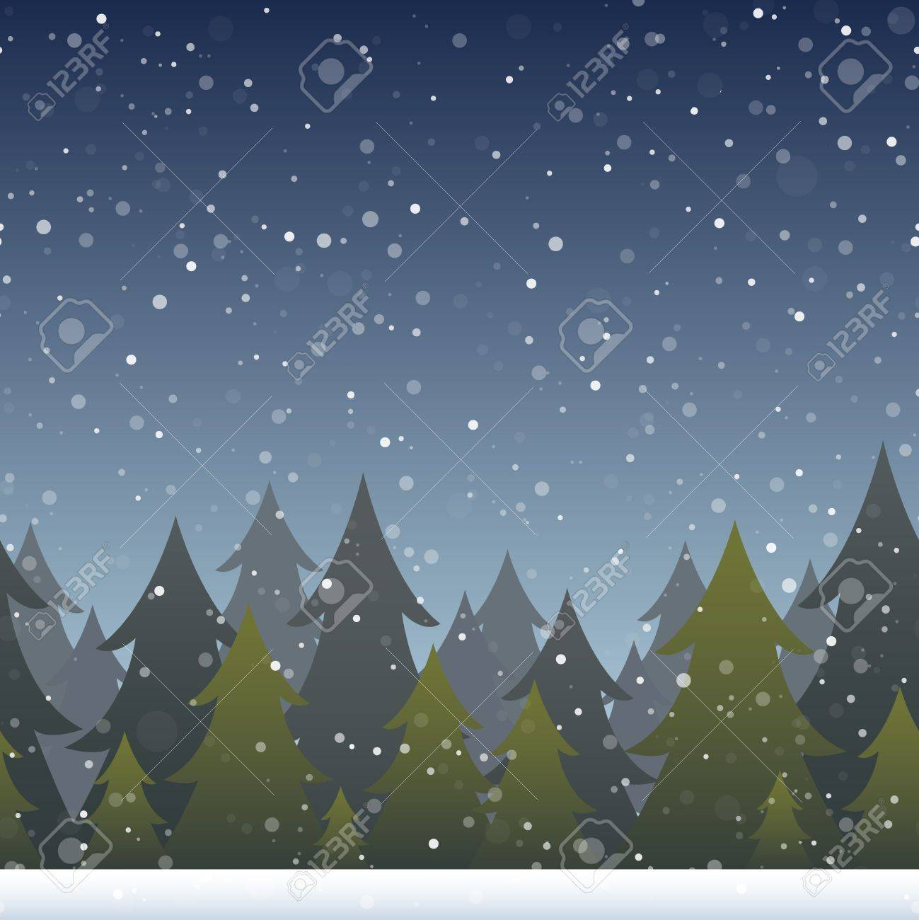 A background depicting a snowy evergreen forest. Horizontally repeatable. Stock Vector - 18849602