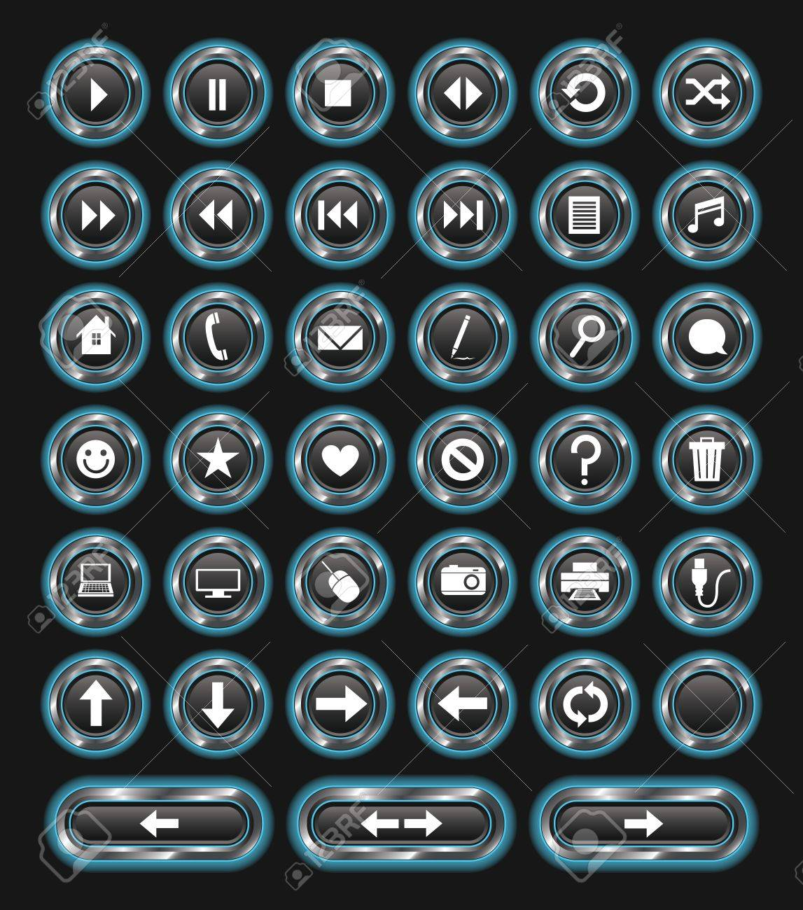 A set of 38 glowing blue buttons with metallic edges Stock Vector - 18905493