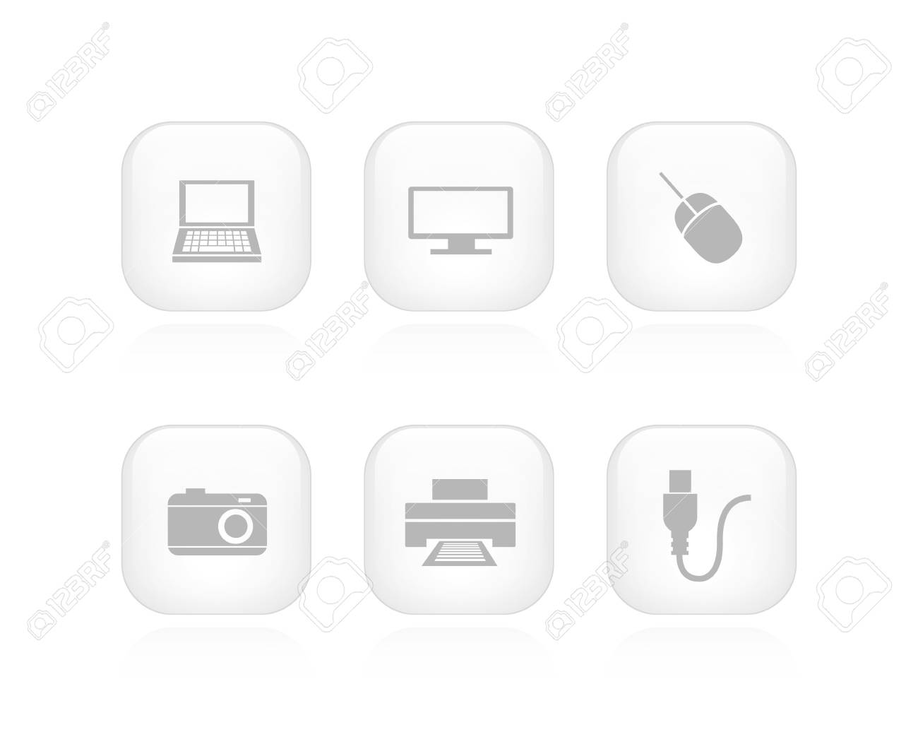 A collection of 6 minimalistic device buttons Stock Vector - 19481815