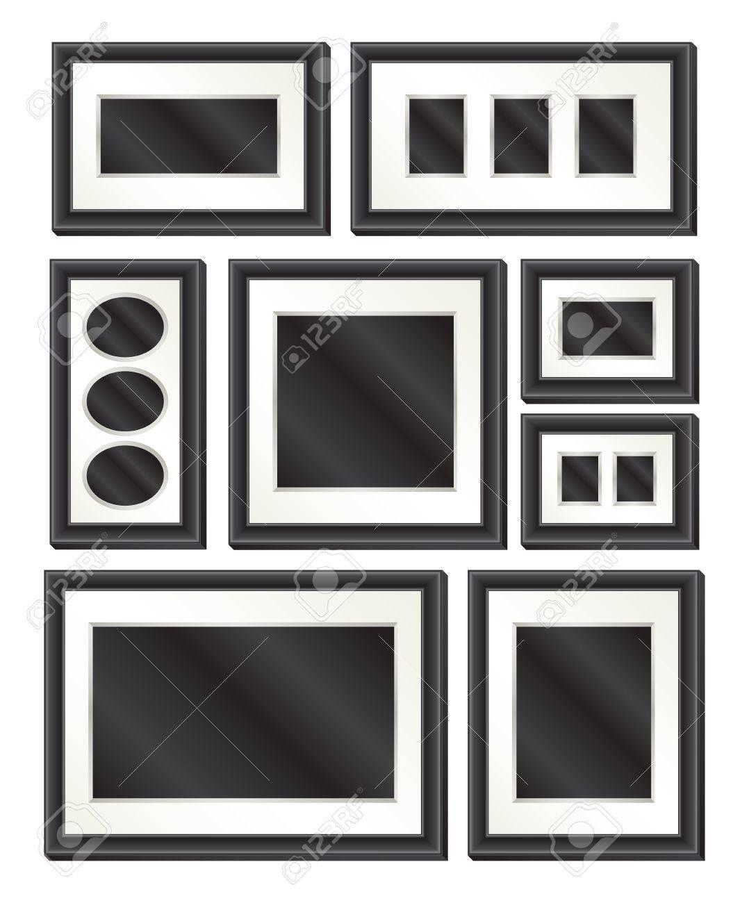 Una Colección De 8 Marcos De Cuadros Negros Elegantes De Diversos ...