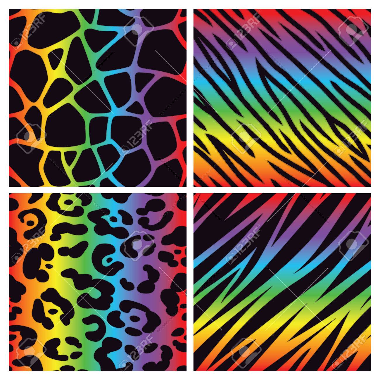 A collection of four bright multicolored animal print backgrounds Seamlessly Repeatable - 23869506
