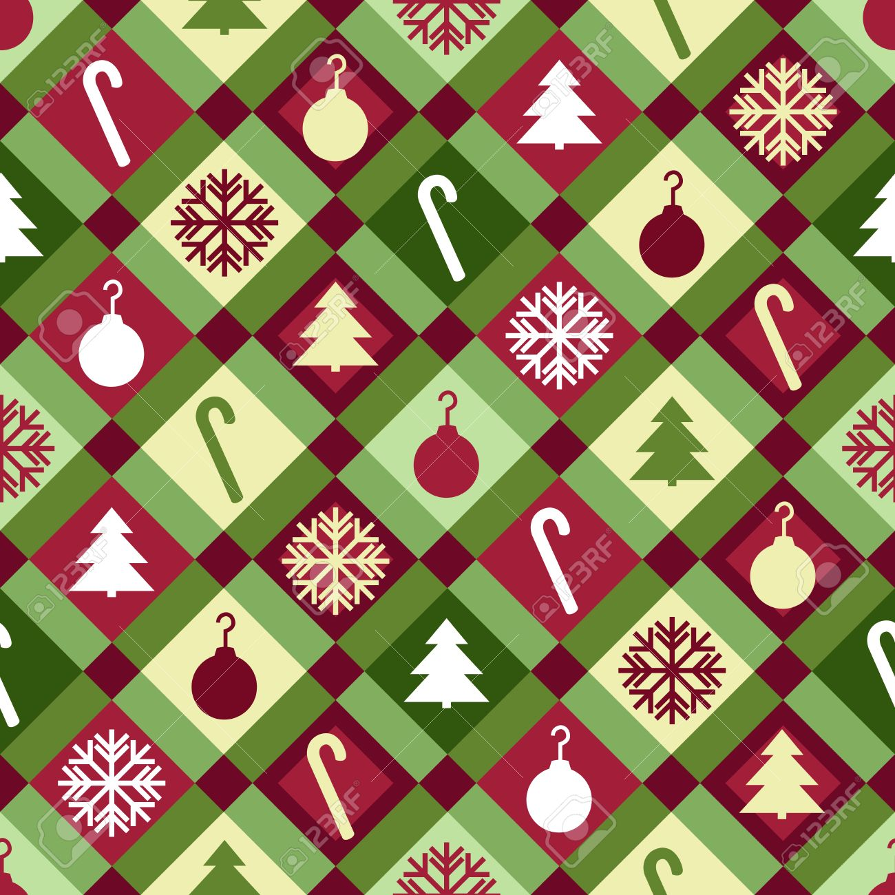 Christmas Quilt Patterns.A Red Green And Yellow Christmas Quilt Pattern Seamlessly Repeatable
