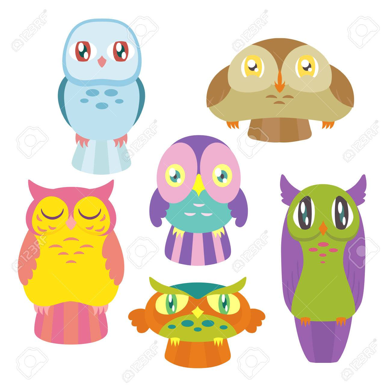 a collection of 6 cute colorful owls of different shapes and sizes stock vector