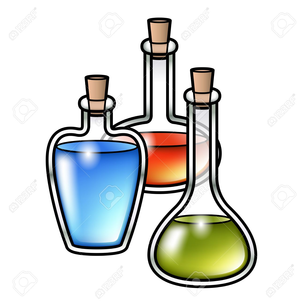 illustration of three cartoon potion bottles with different colored rh 123rf com Potion Vials Love Potion Glass Plastic