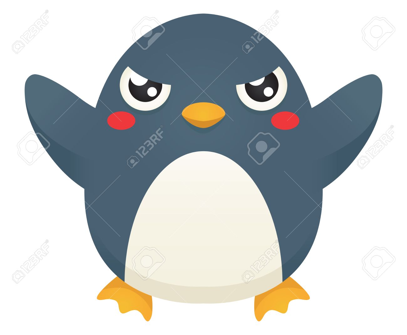 illustration of a cute cartoon penguin with an angry expression