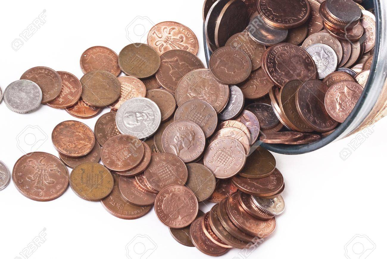 Britische Pfund Münzen Von Pences Lizenzfreie Fotos Bilder Und