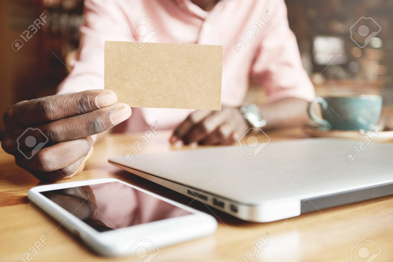 Selective Focus. Black Male Hands Holding Blank Visiting Card ...