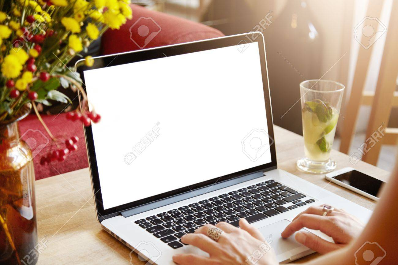 Cropped shot of young female freelancer working on laptop, woman blogger keyboarding, posting new articles on her blog, sitting at wooden table against home interior background in the morning - 62998932