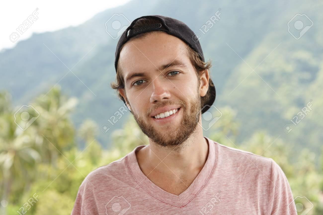 86fead3e24c Outdoor Shot Of Young Caucasian Man With Beard Relaxing In Open ...