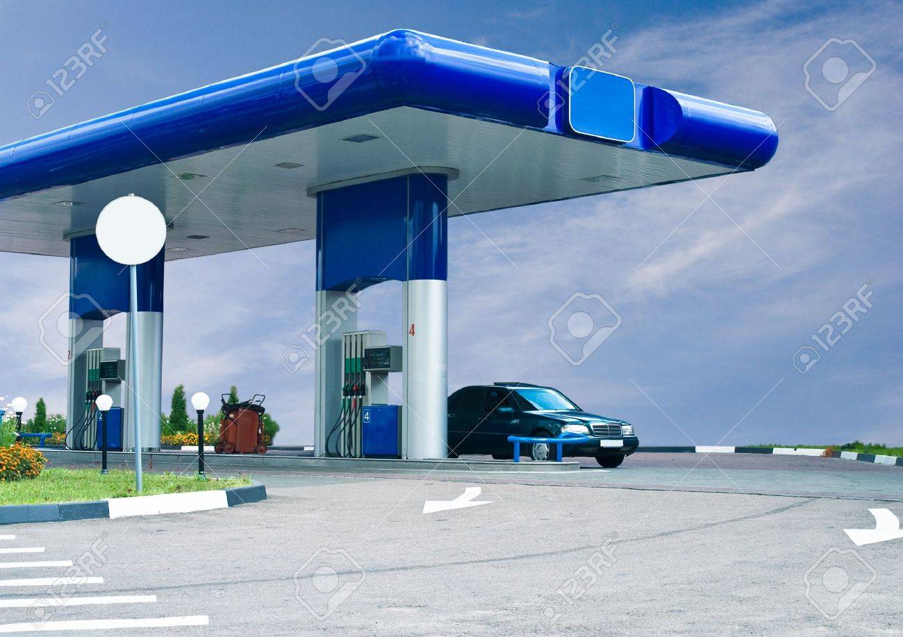 gas refuel station against cloudy sky Stock Photo - 2463894