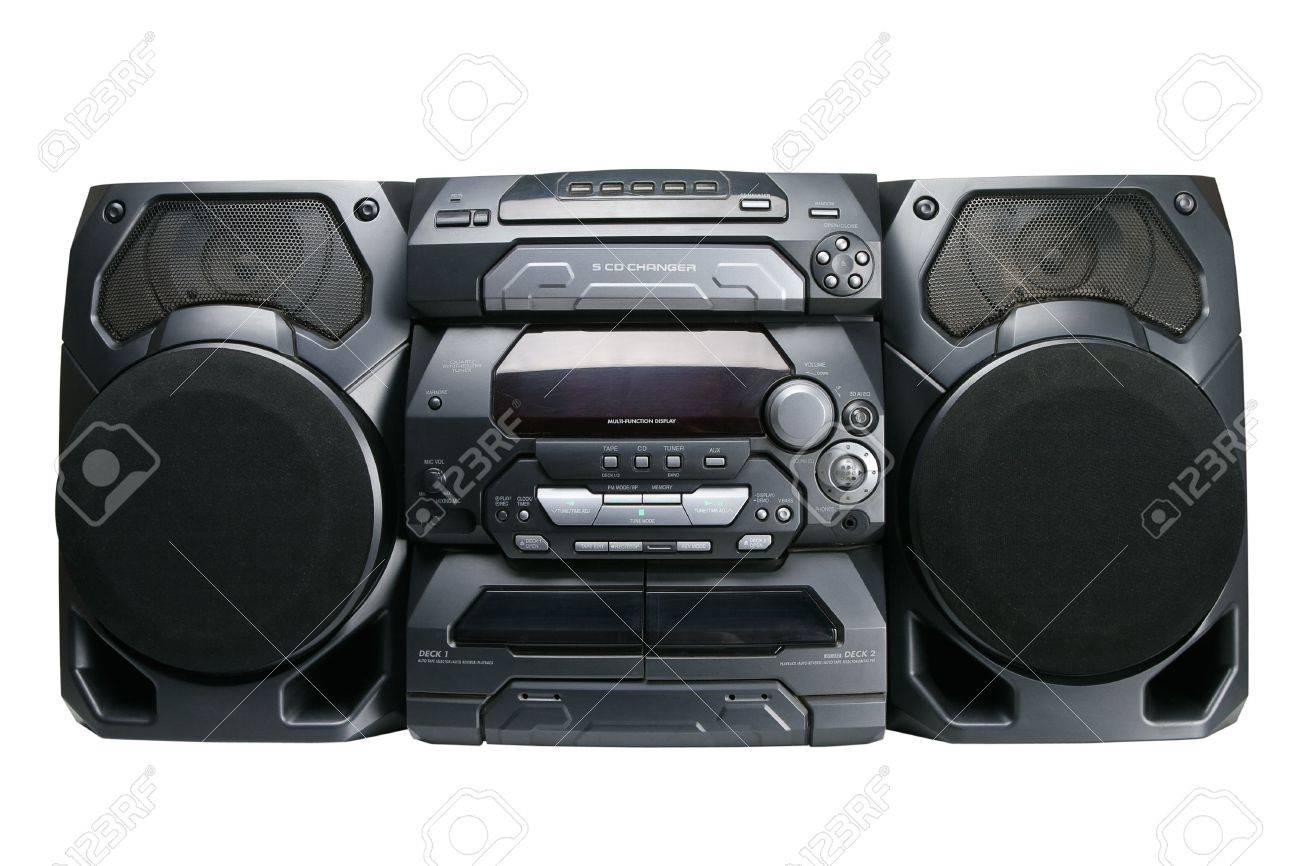 Compact stereo system cd and cassette player with radio isolated on white background Stock Photo - 6439201