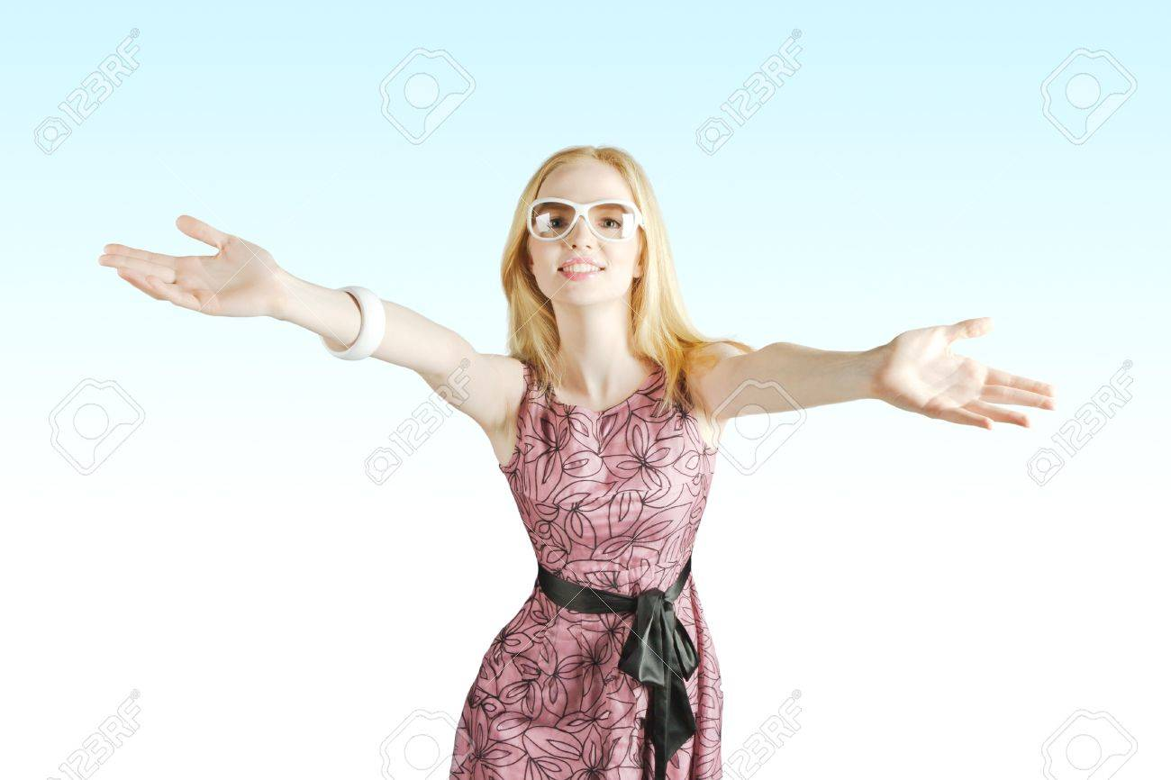 happy young beautiful girl opened the hand to open arms Stock Photo - 7986197