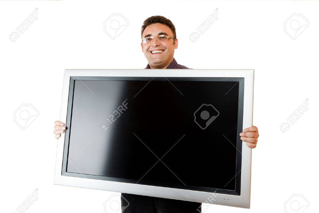 Man holding in hands lcd tv isolated over white background Stock Photo - 10228643