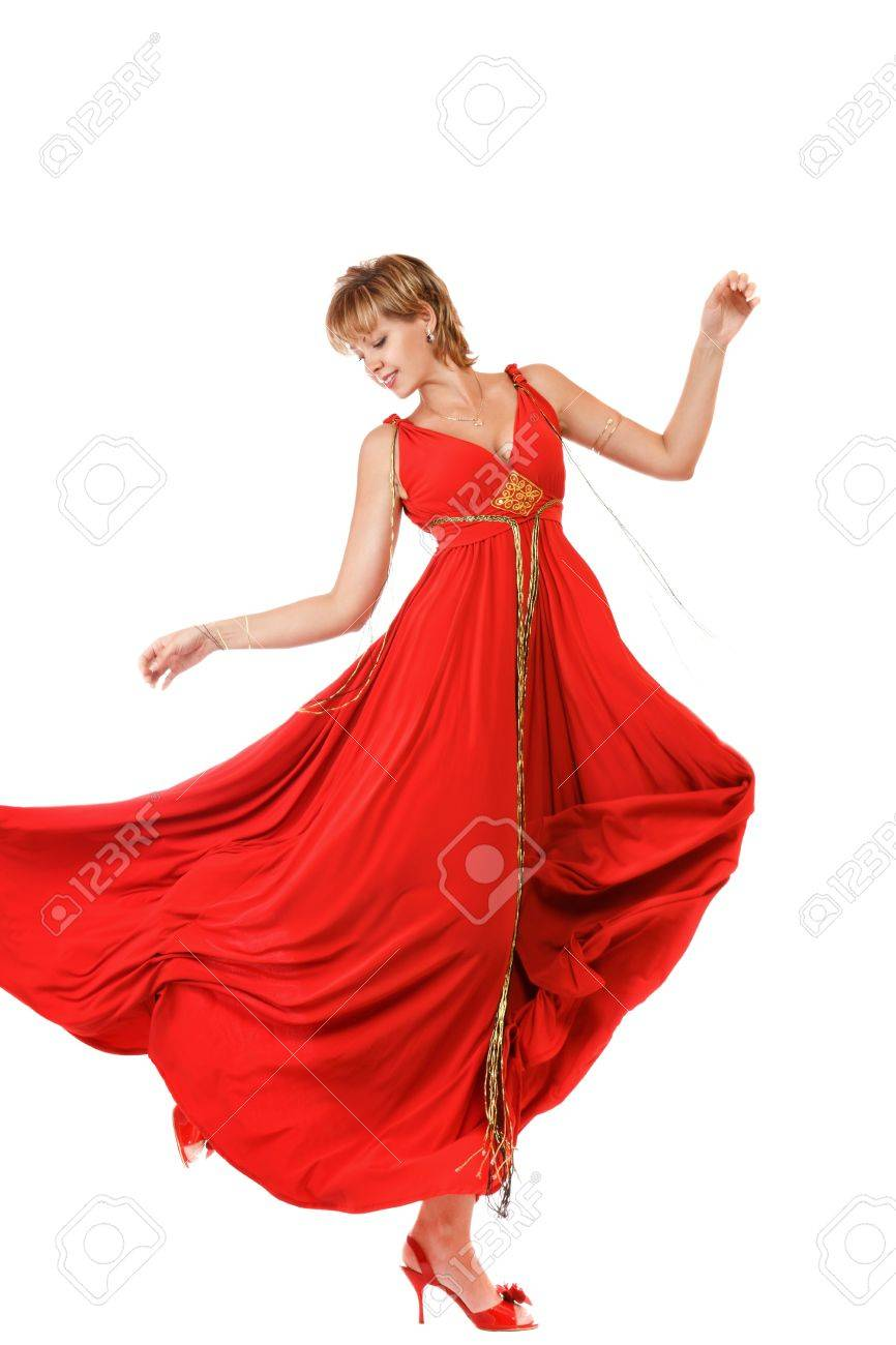0ea2c9aa6a4f Young Dancing Woman In Long Red Dress Stock Photo, Picture And ...