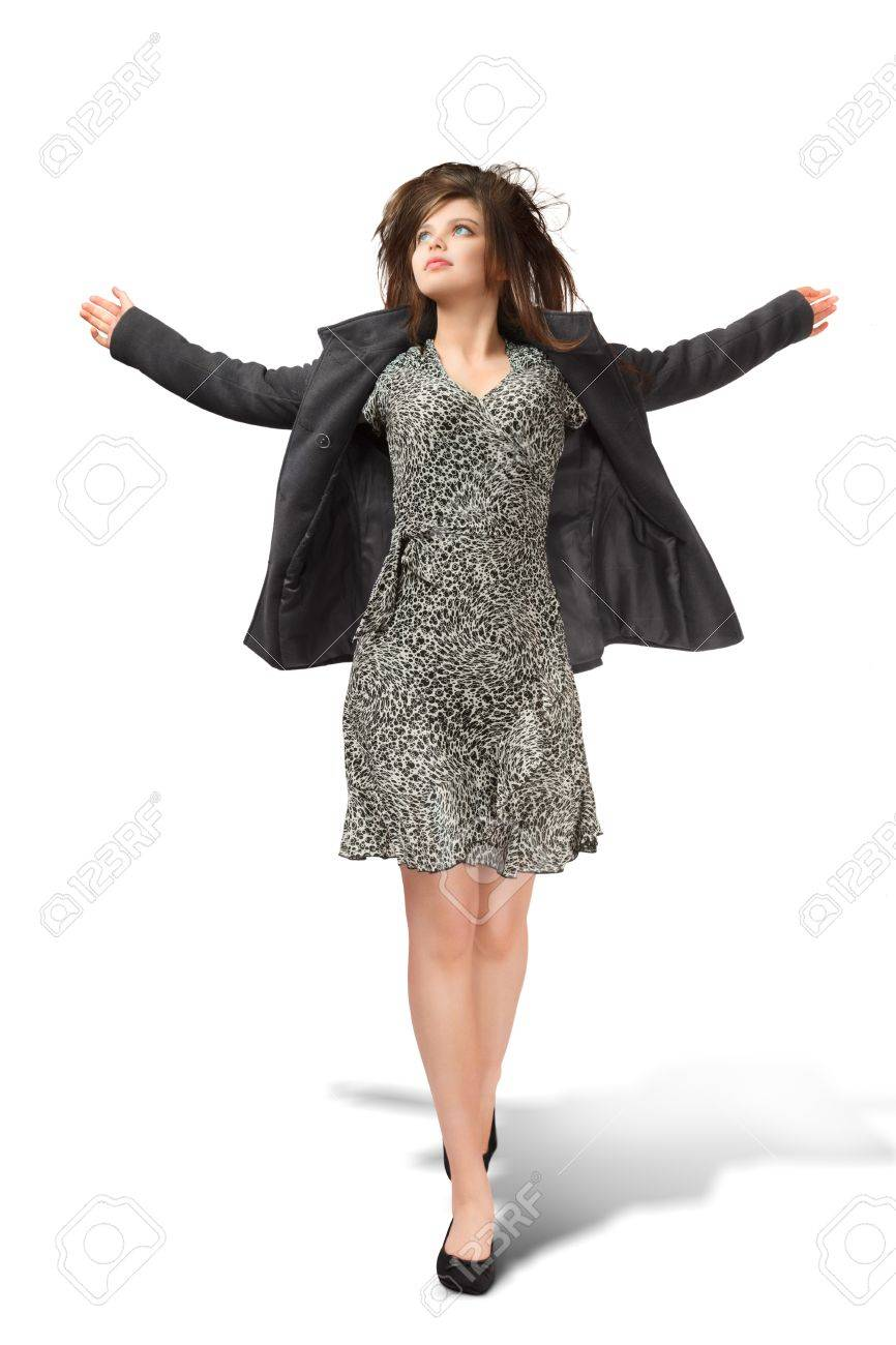 Young woman full body portrait isolated over white background Stock Photo - 19355779