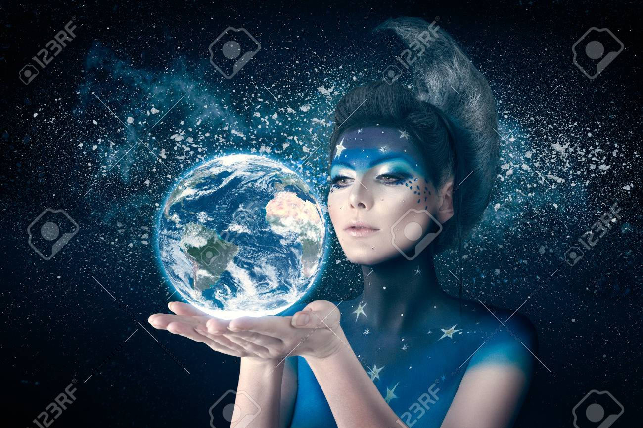 Woman Like Moon Inspired Body Art And Hairstyle Holding Planet Stock Photo Picture And Royalty Free Image Image 41003588