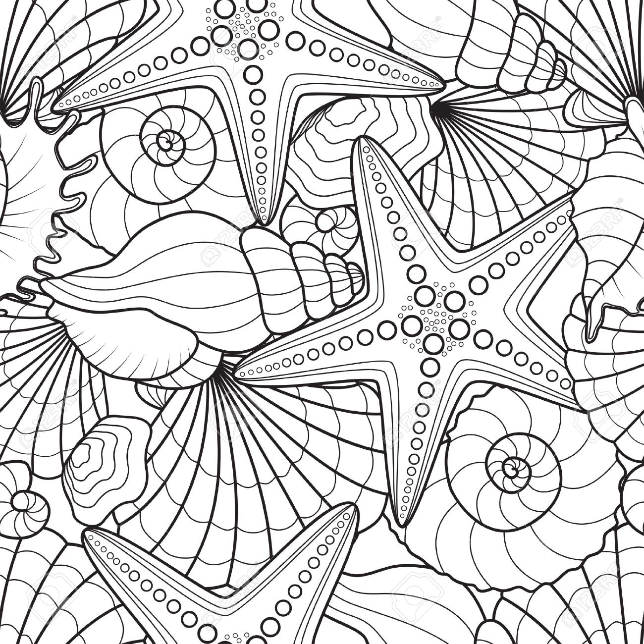seamless background with starfish and seashells royalty free