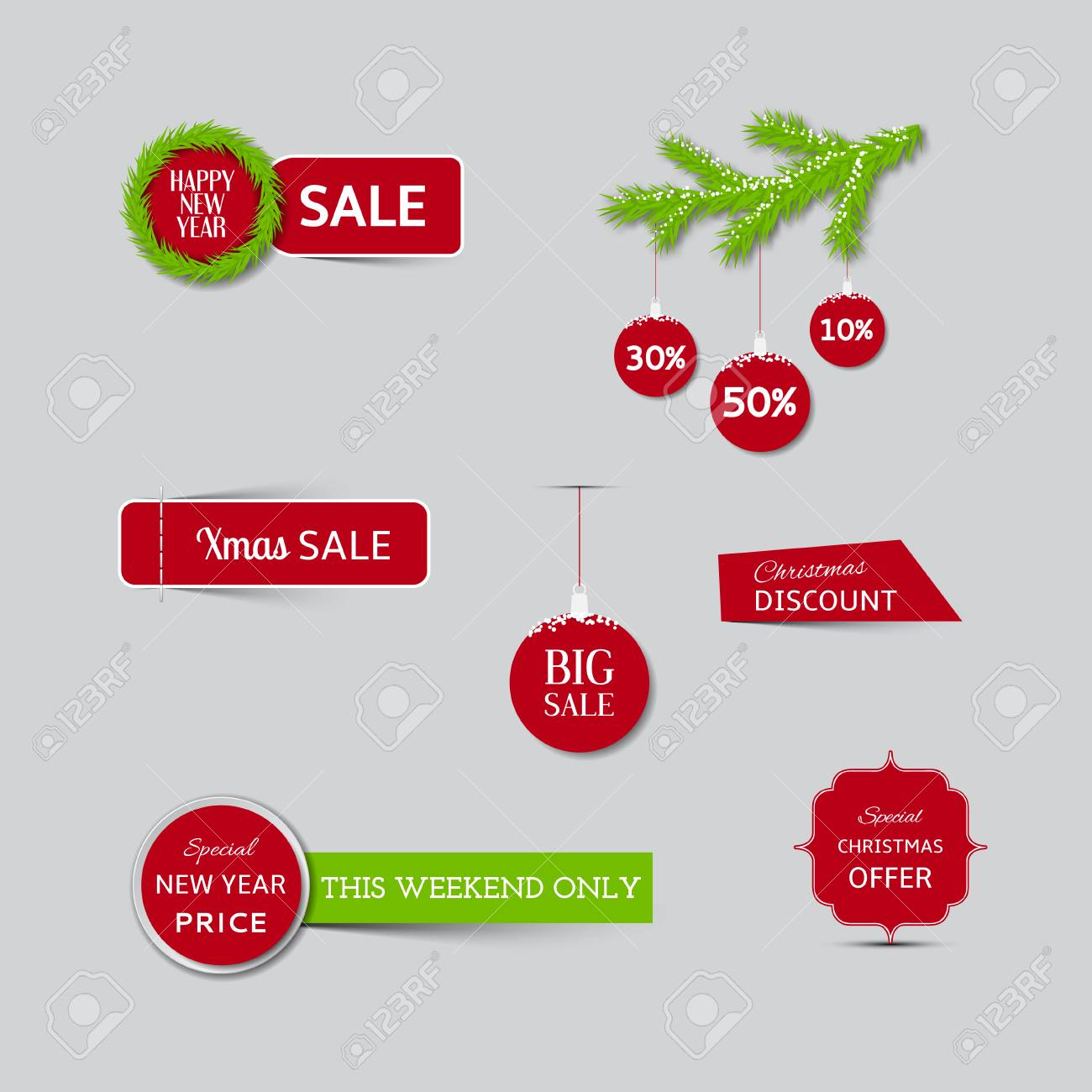 collection of christmas sale banners and new year sale banners stock vector 32457784