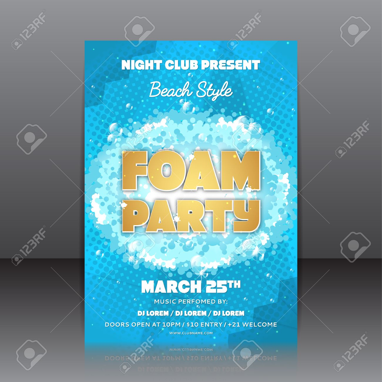 Template Of Invitation On A Foam Party. Vector Template For Your ...