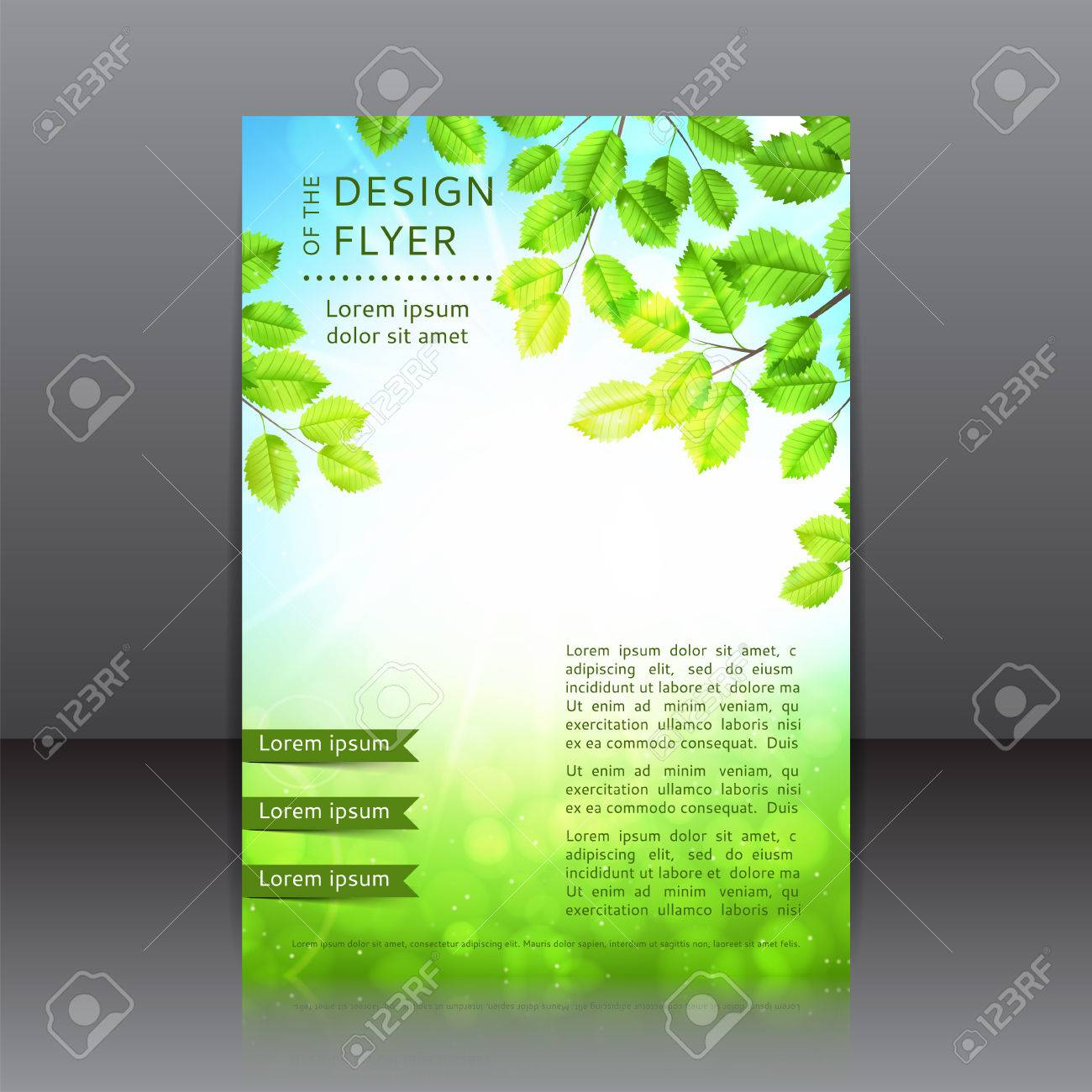 Vector Design Of The Flyer With Leaves And Sun Spring
