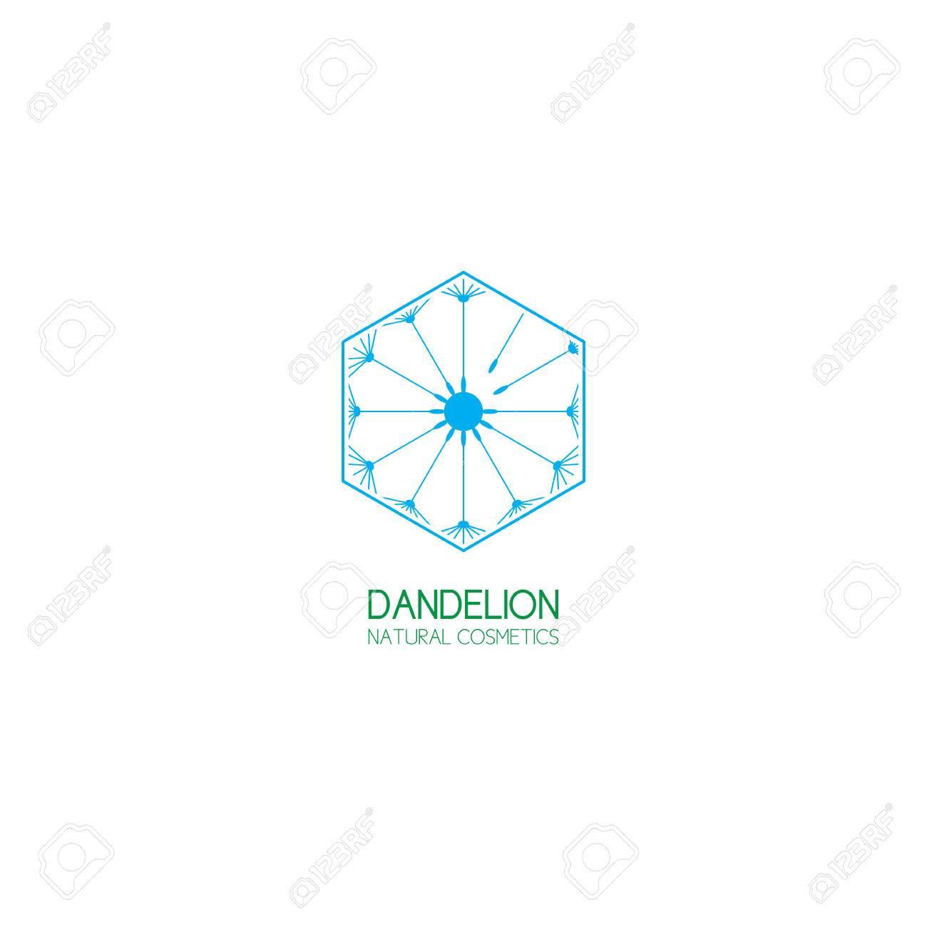 Concept Of Template Logo Dandelion Symbol Of Natural Cosmetics