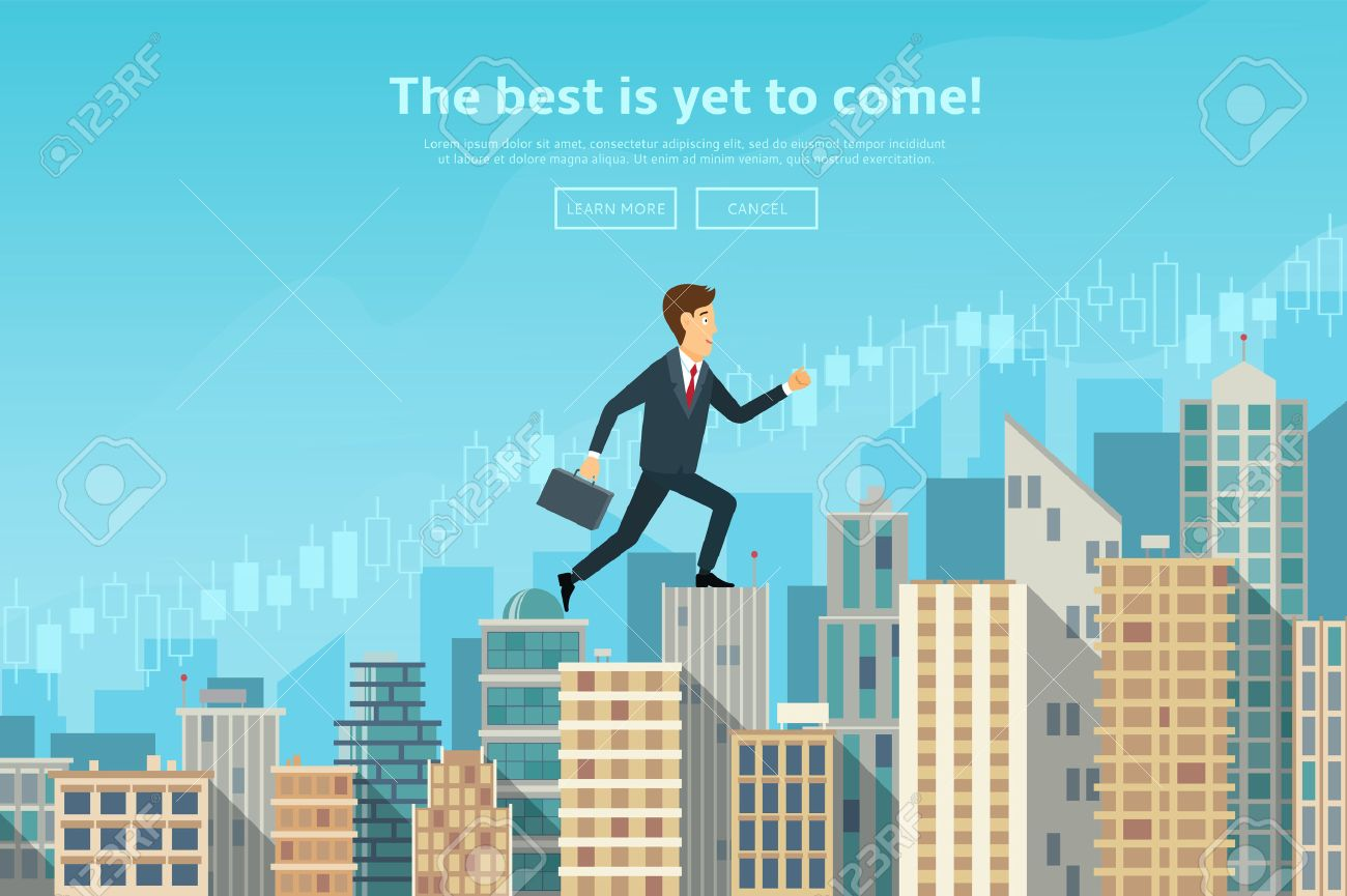 Concept of web banner with person walking to the sucsess. Modern flat design of urban landscape with city buildings, vector illustration. - 53831102