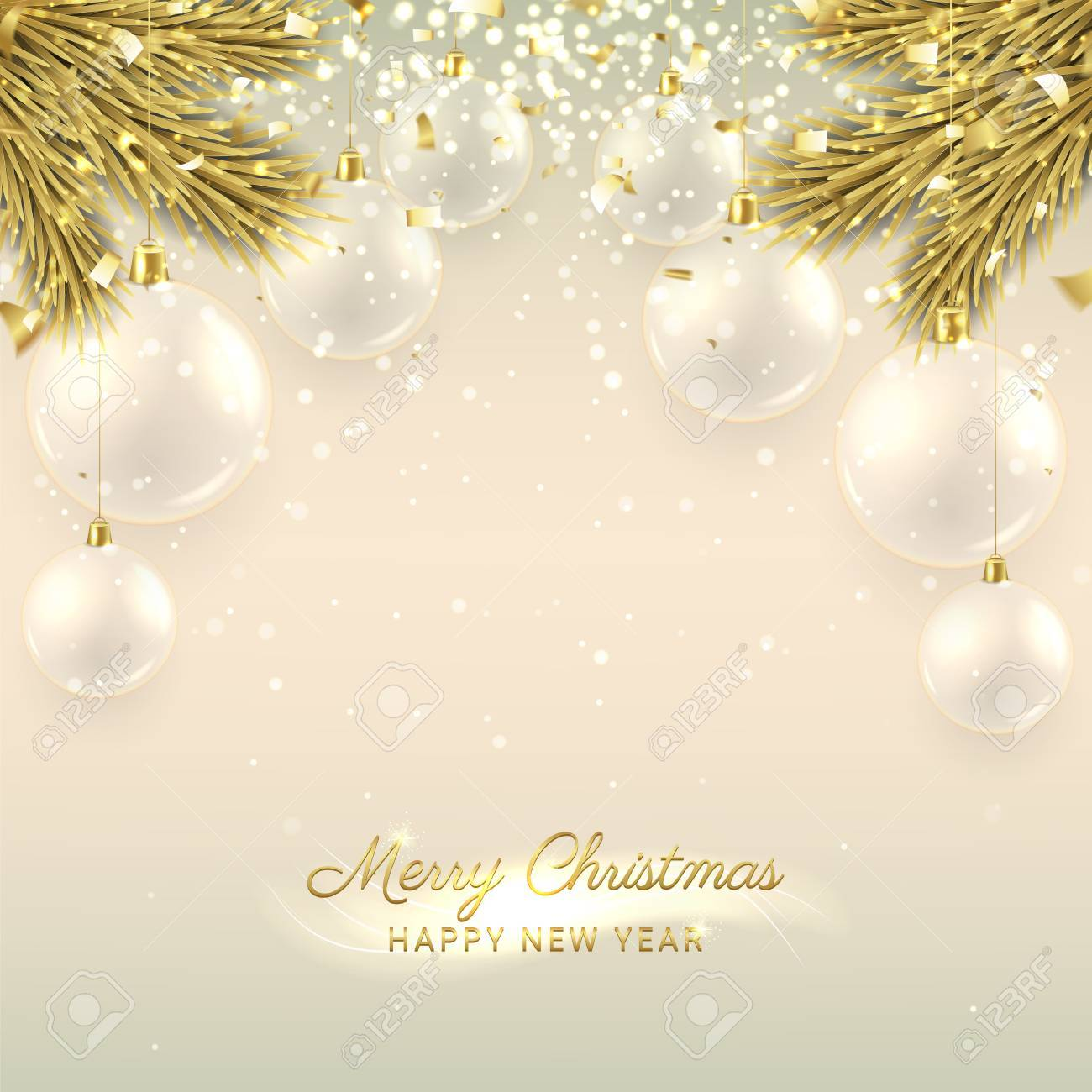 elegant illustration with fir tree branches happy new year background with golden confetti and