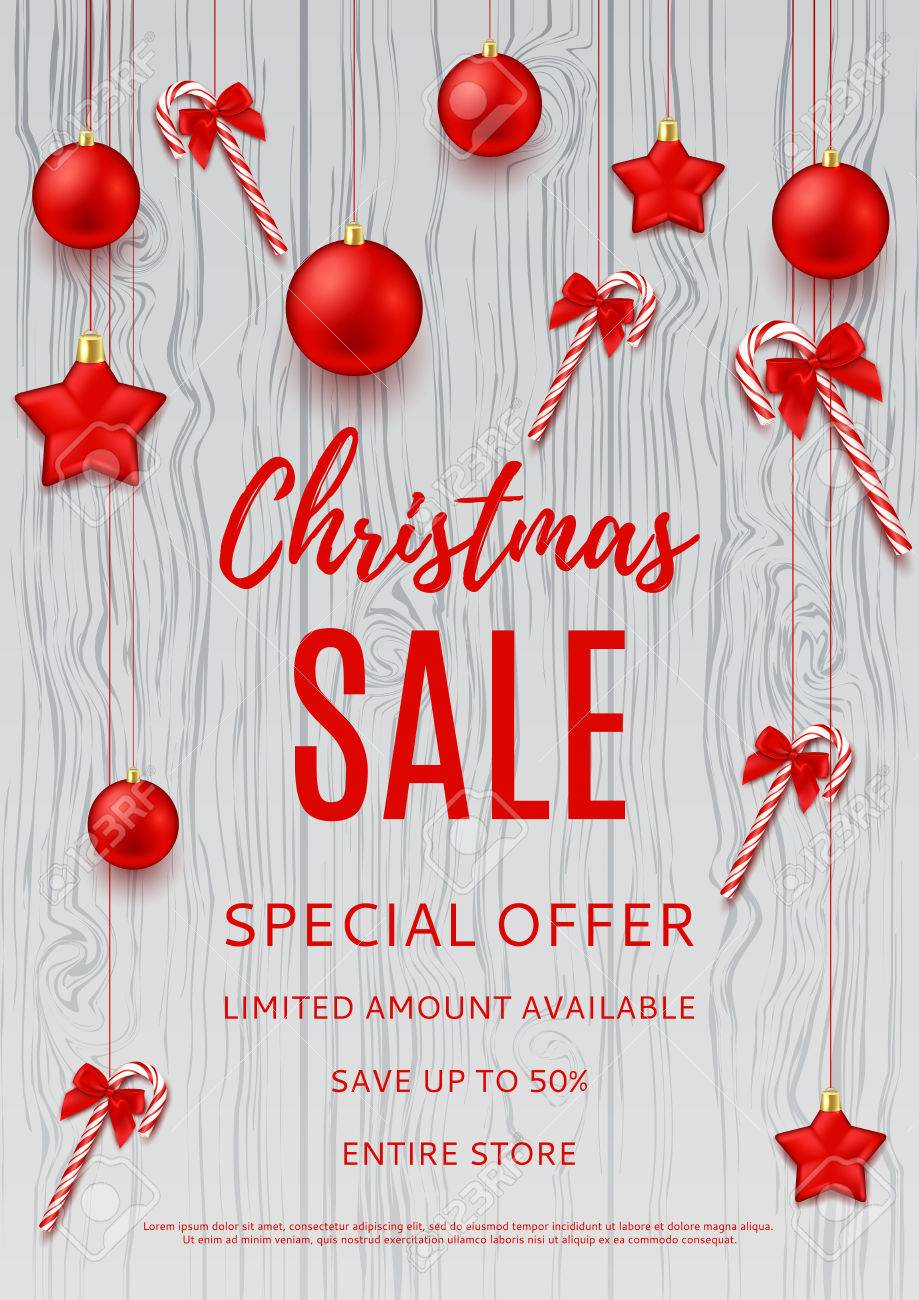 Seasonal Sale Flyer For Business Design. Xmas Gift Card With ...
