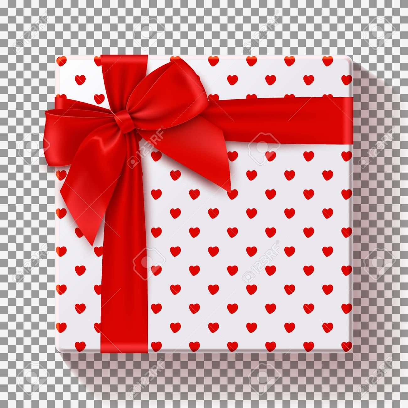 Top View On Gift With Red Bow Template For Greeting Card Christmas New Year Birthday And Valentines Day