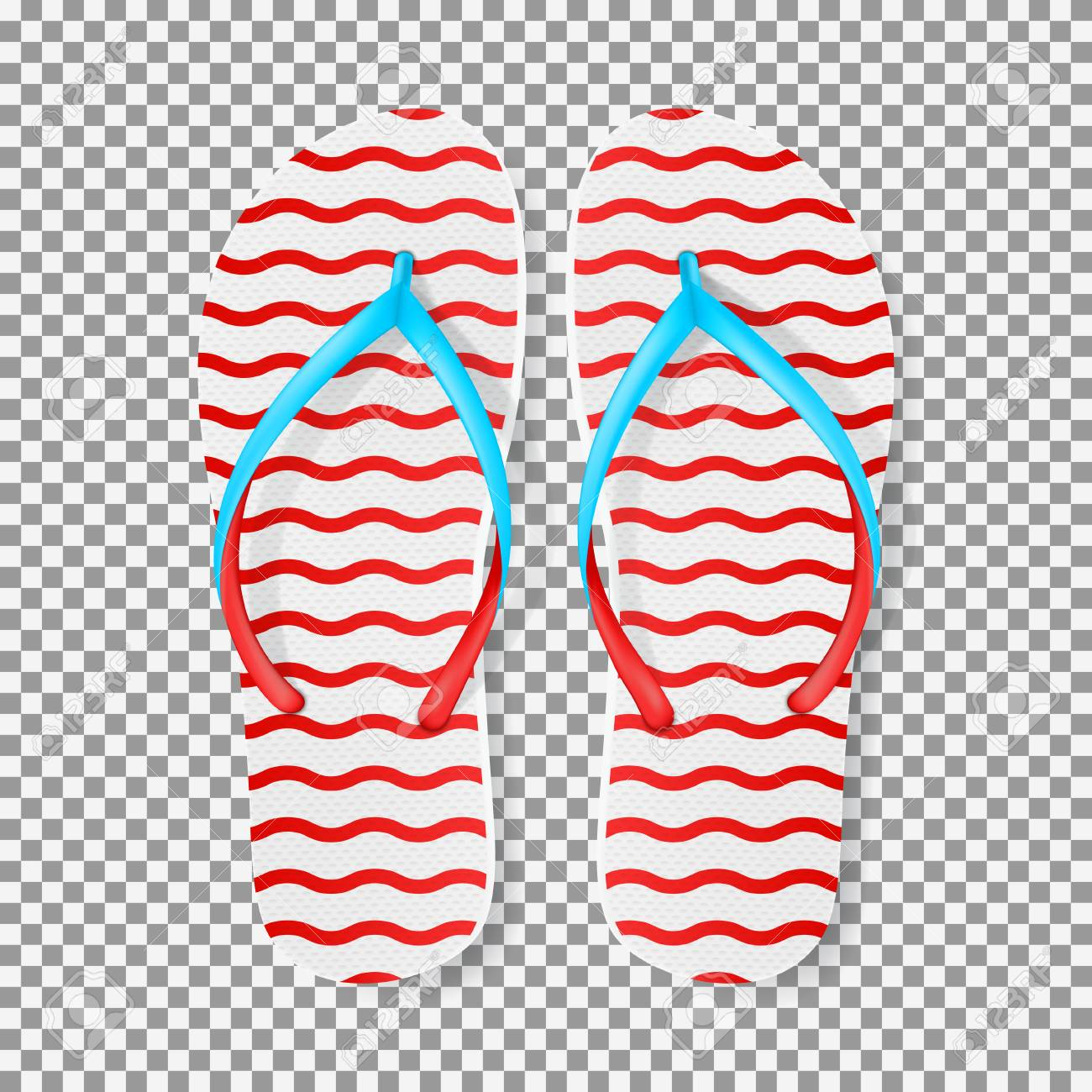 2cf1a01b05165 Realistic red and white flip flops. Vector illustration with seasonal  summer footwear isolated on transparent