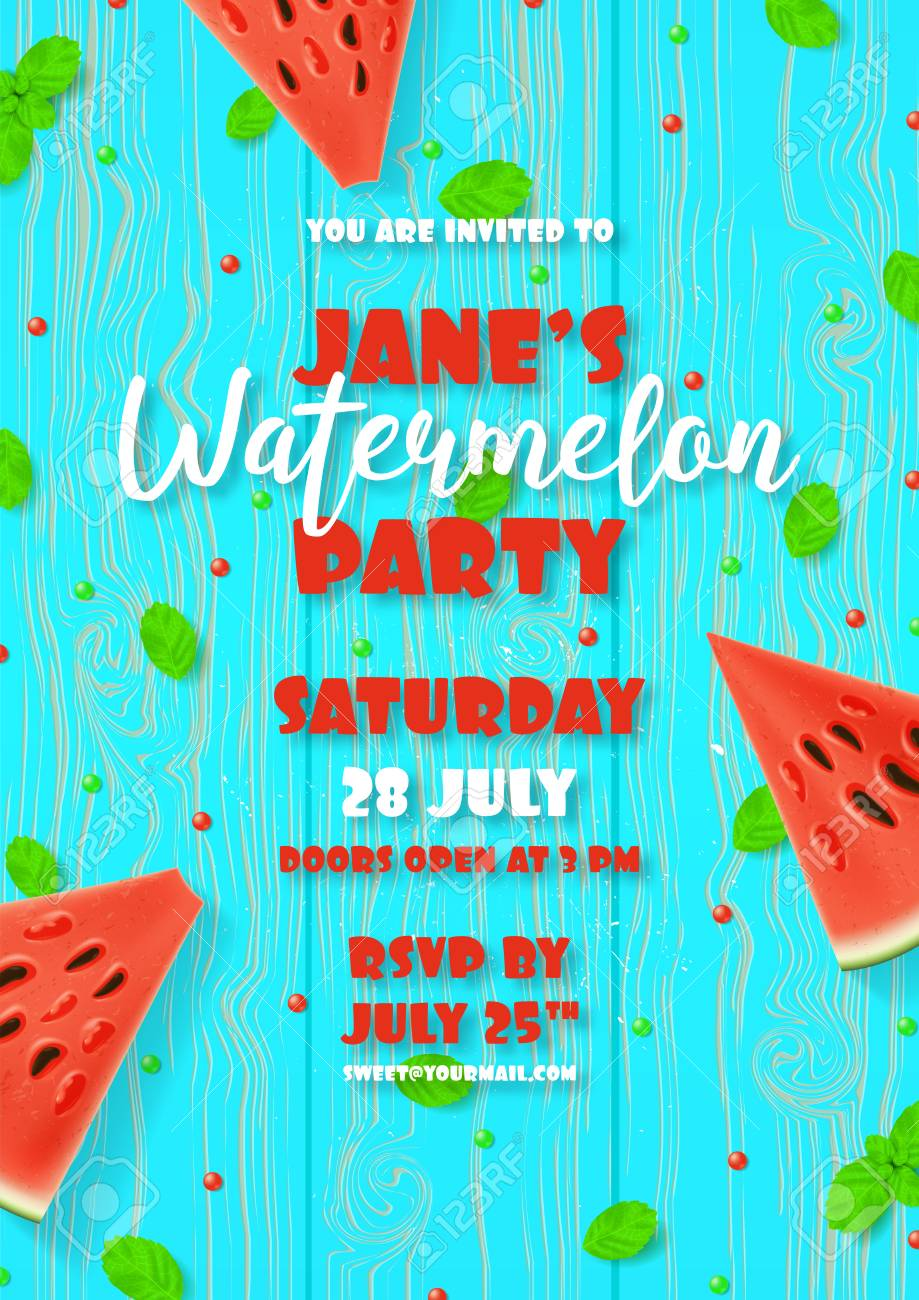 watermelon party invitation template royalty free cliparts vectors