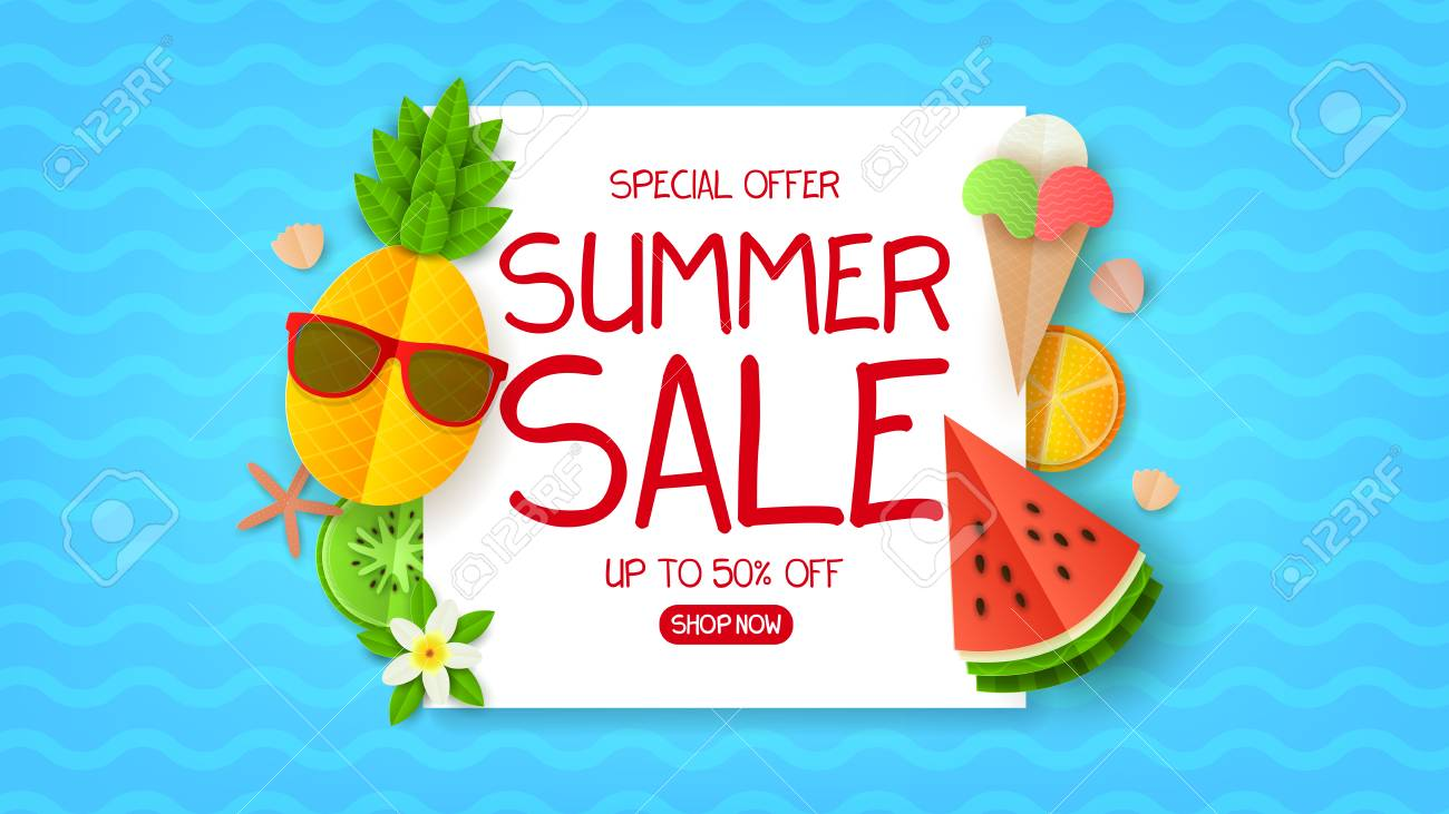 1135fe48ea1a Summer sale web banner. Summer composition with flat paper cut elements on  blue backdrop.