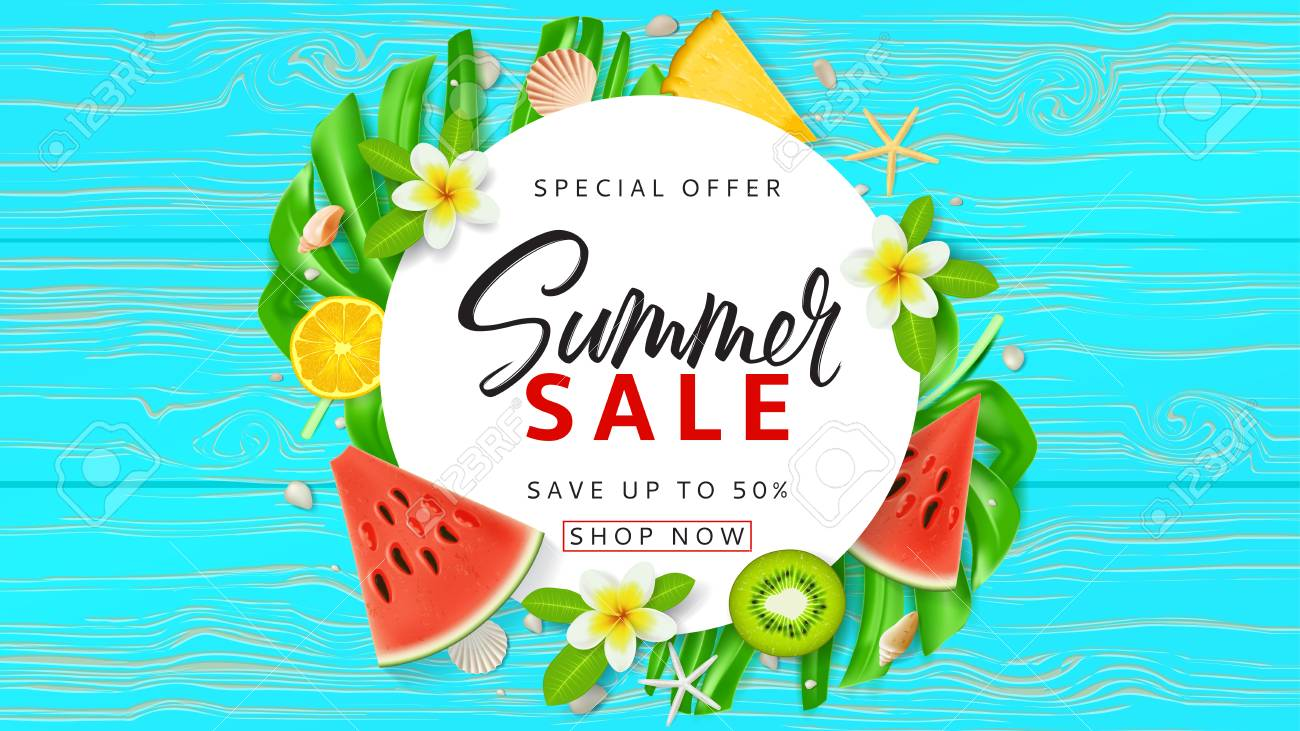 summer sale promo web banner top view on red sun glasses seashells