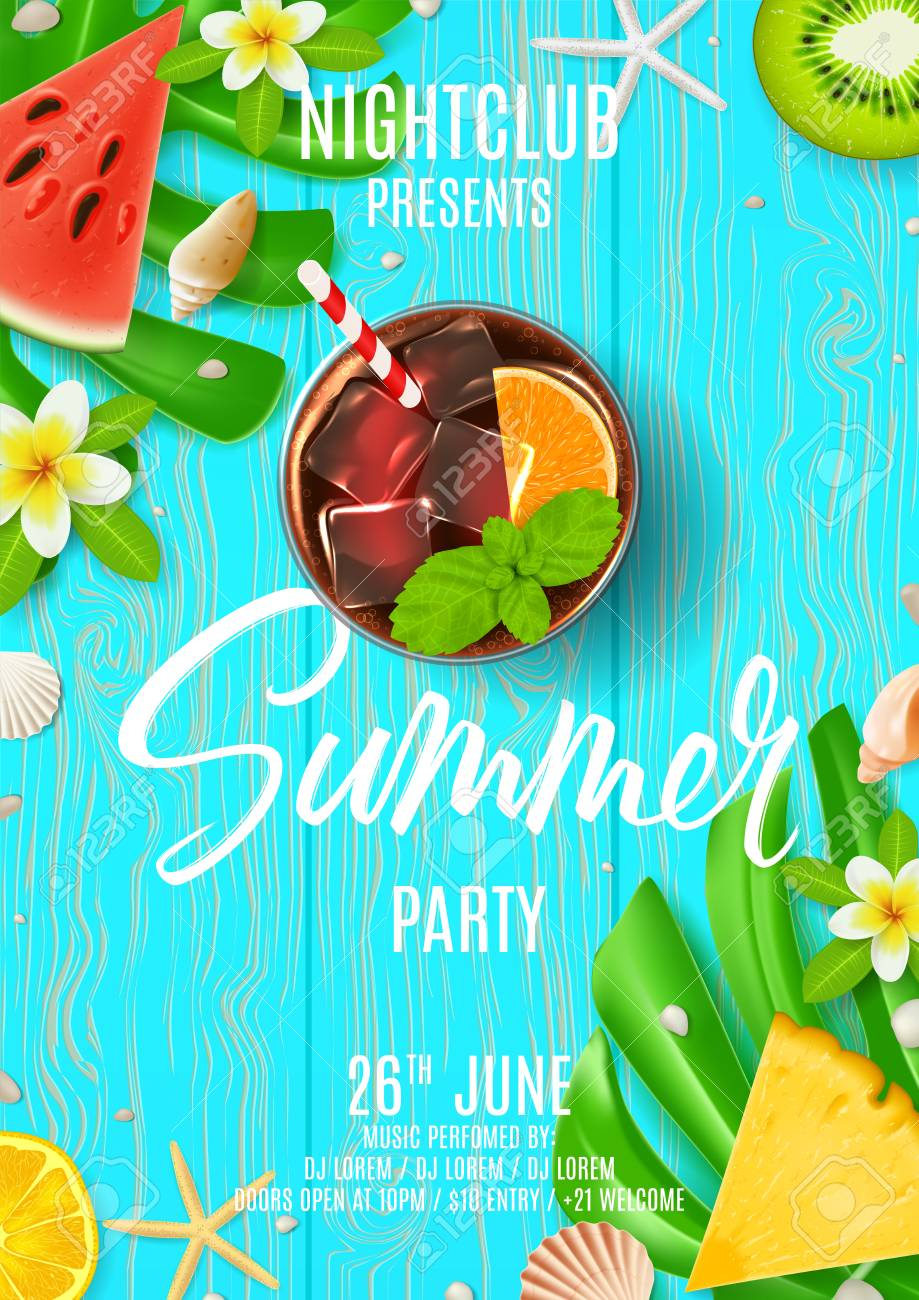 Summer party poster invitation top view on summer decoration summer party poster invitation top view on summer decoration with tropical fruit and fresh cocktail stopboris Gallery