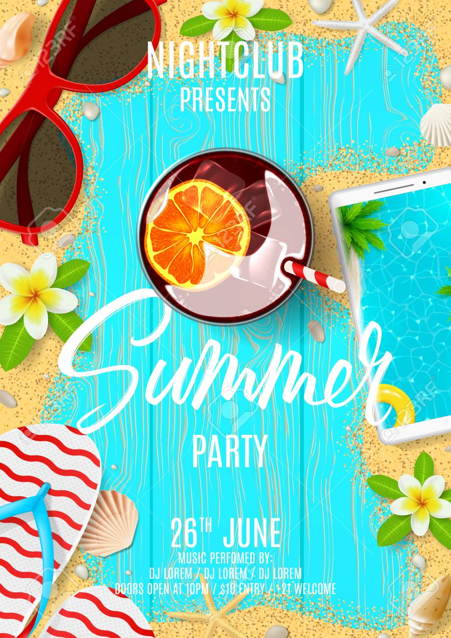 summer party flyer invitation top view on summer decoration