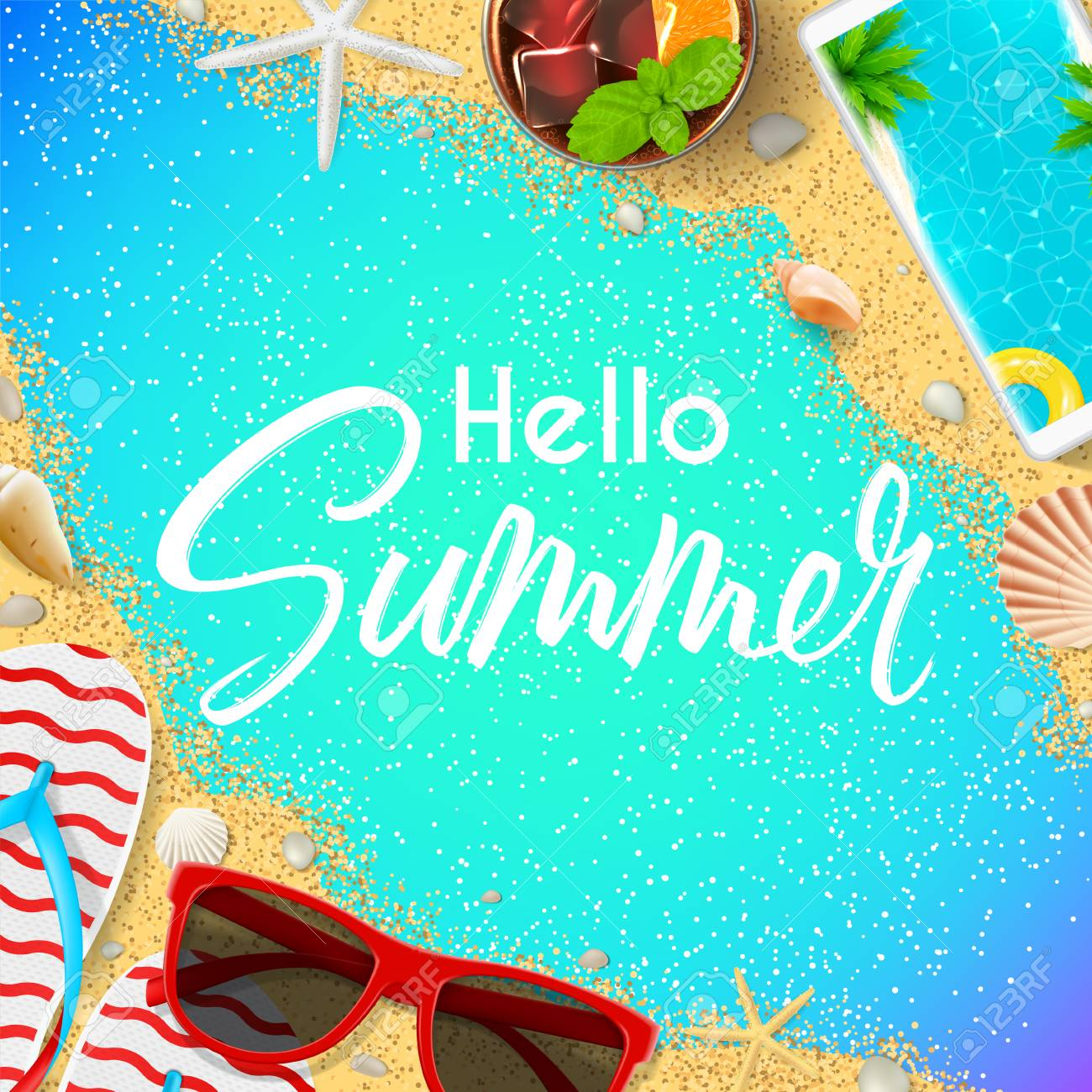 Hello Summer Card Template. Top View On Summer Composition With Realistic  Objects On Color Background
