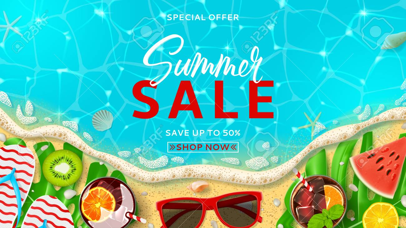 0386e51d78df Summer sale promo web banner template. Top view on Summer decoration with  realistic objects on