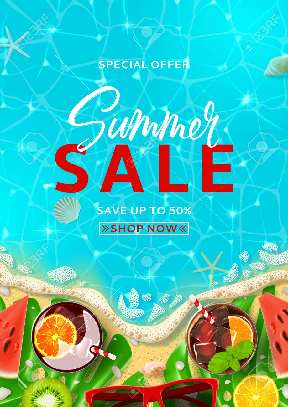 summer sale promo flyer template top view on summer decoration