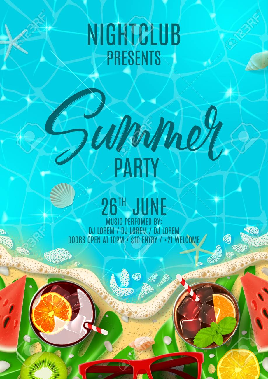 Summer party poster invitation top view on summer decoration summer party poster invitation top view on summer decoration with fresh cocktails and tropical fruit stopboris Gallery