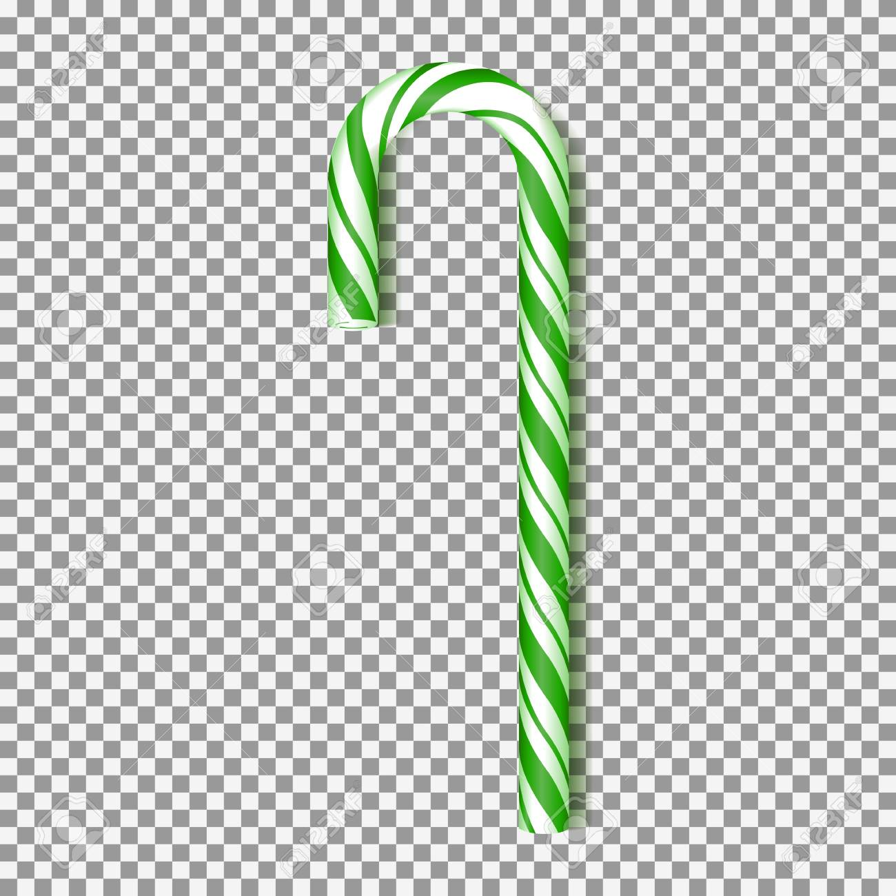 Candy Cane Template   Realistic Green Xmas Candy Cane Isolated On Transparent Backdrop