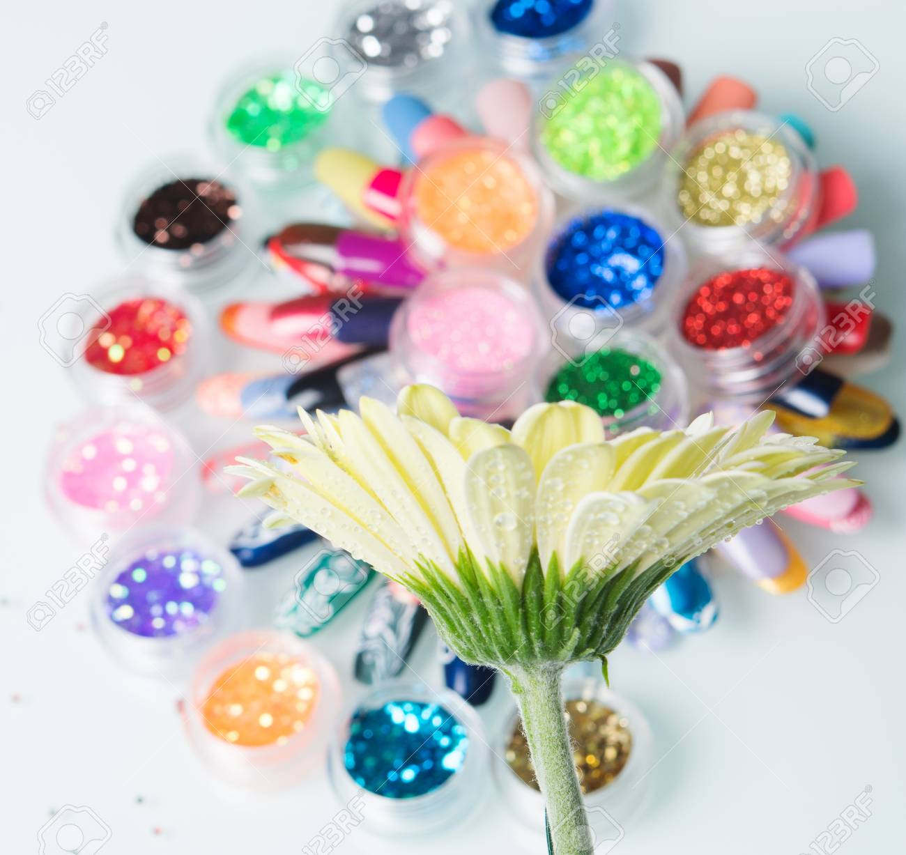 Nail polishes and glitter with flower stock photo picture and nail polishes and glitter with flower stock photo 69642561 izmirmasajfo