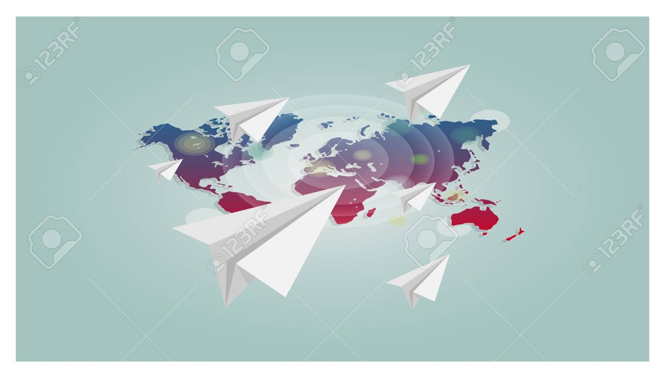Vector world map with paper planes background trendy style for vector vector world map with paper planes background trendy style for graphic design web site social media user interface mobile app gumiabroncs Choice Image
