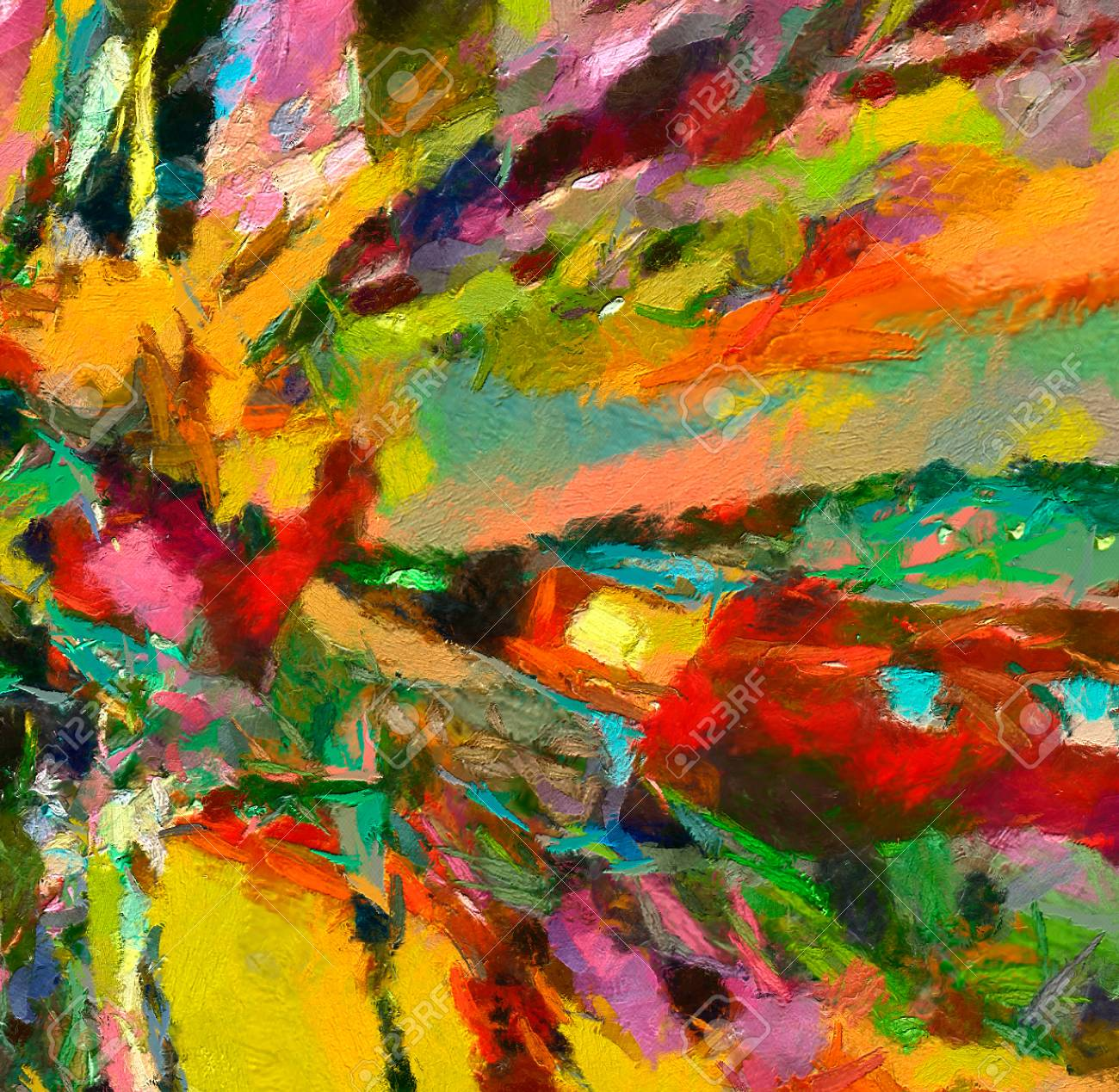 Oil Painting Abstract Modern Contemporary Art For Background