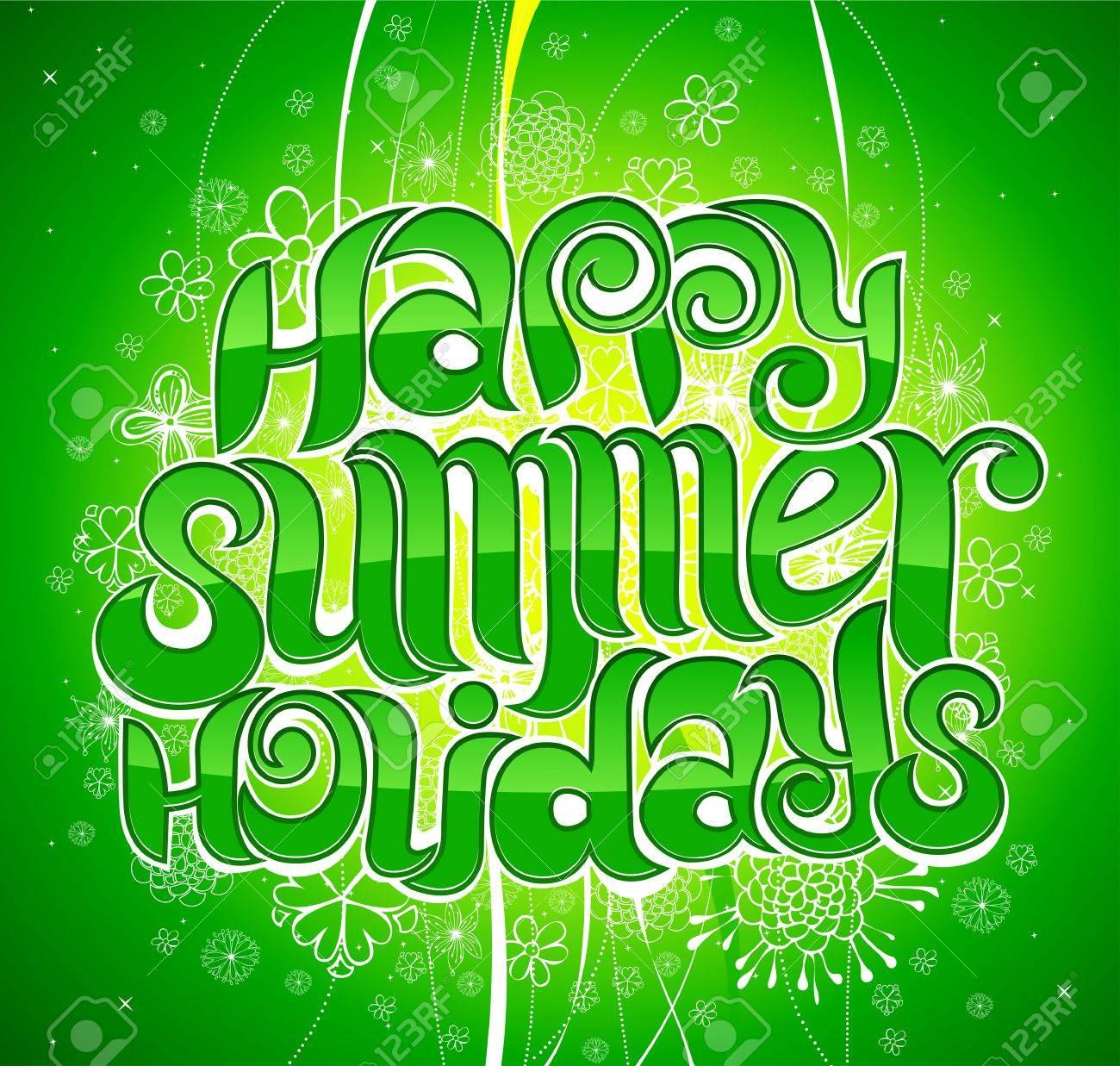 happy summer holiday greeting inscription in vector Stock Vector - 4739914
