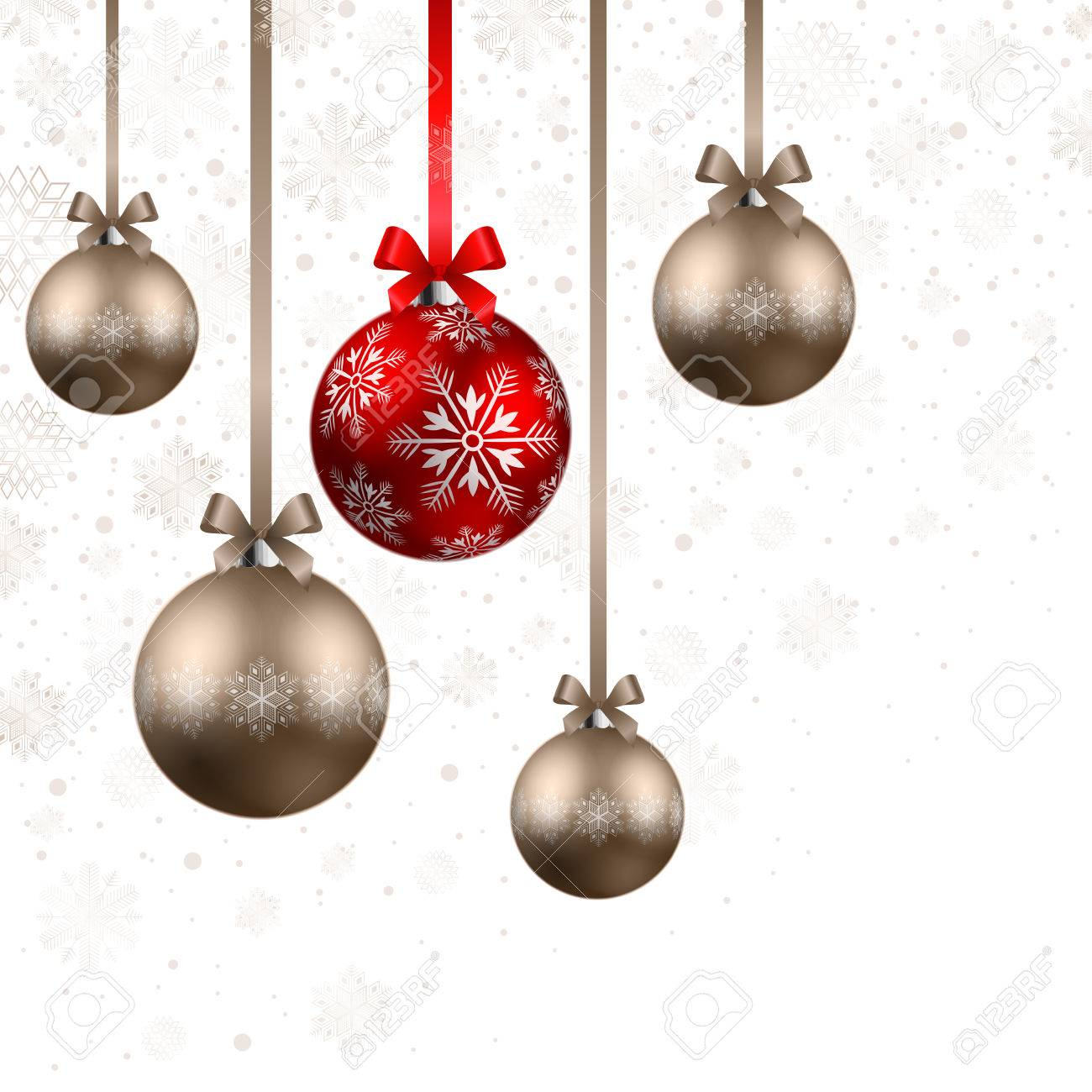 Christmas Shining Red Bronze Baubles White Background Stock Vector 8212473