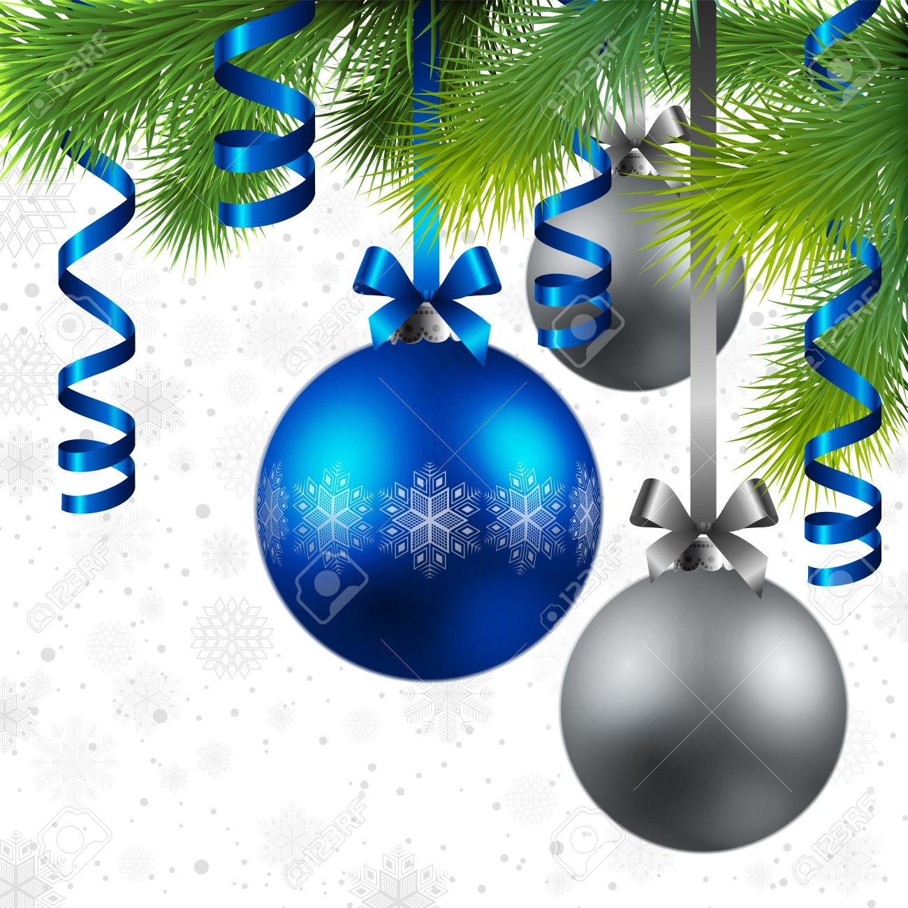 christmas background with fir, blue and silver baubles Stock Vector - 8287330