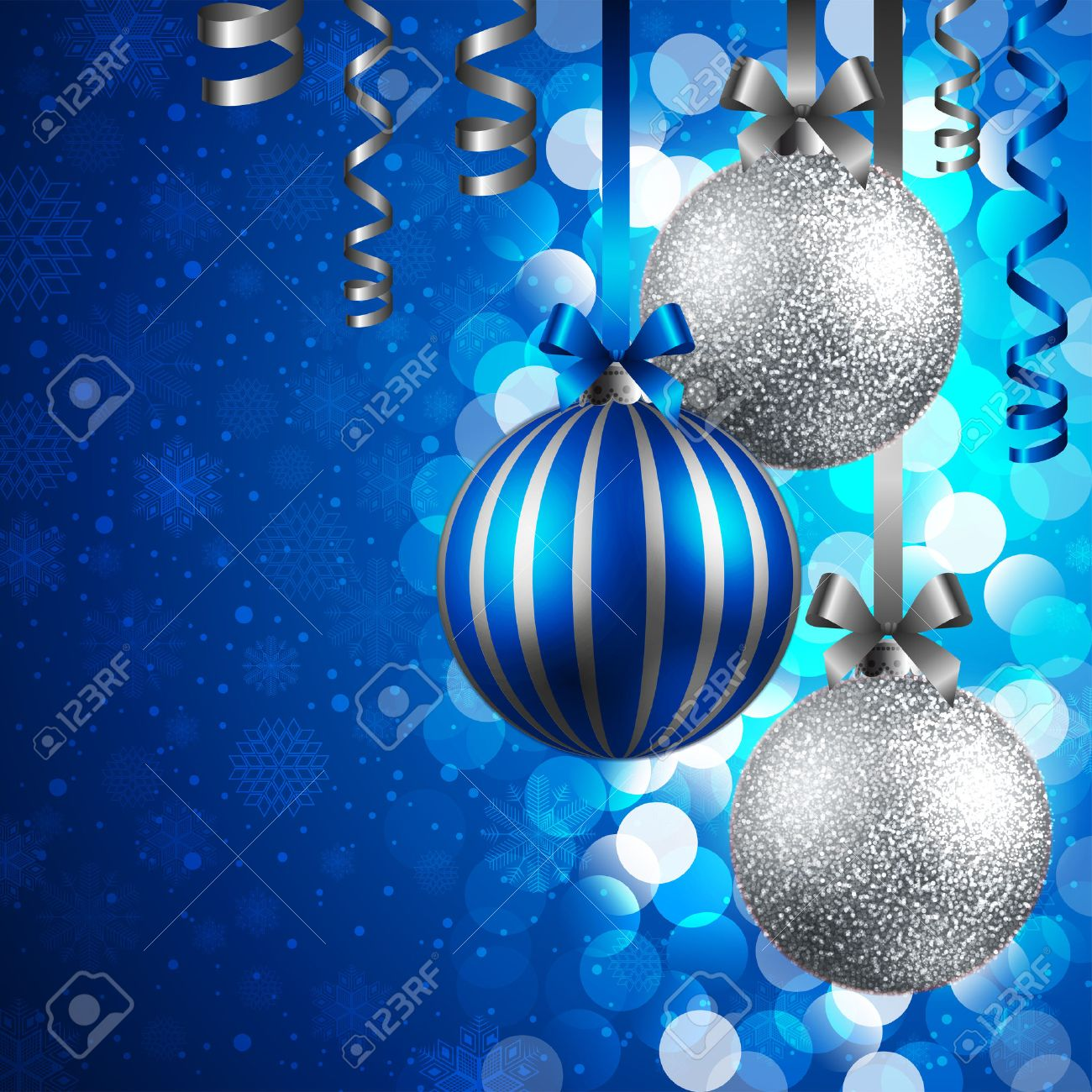 Christmas Background With Blue And Silver Baubles Royalty Free ...