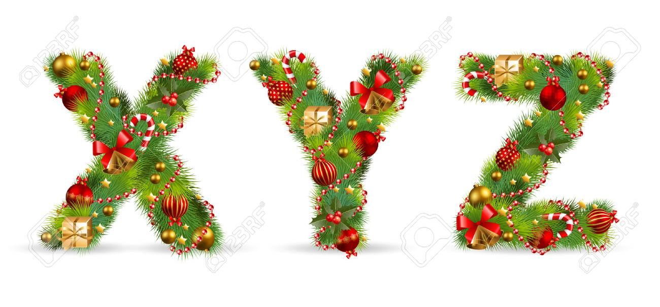 XYZ, Vektor Weihnachten Weihnachts-Schriften Mit Grünen Tannen Und ...