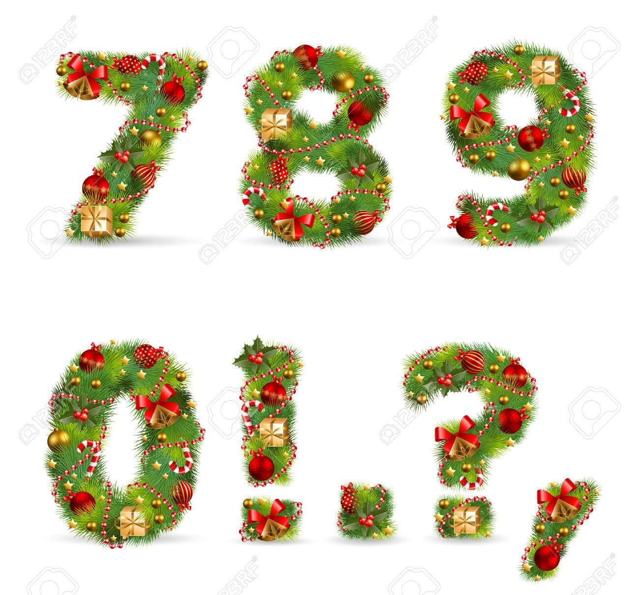 7890, Vector Christmas Tree Font With Green Fir And Baubles Stock Vector   8391571